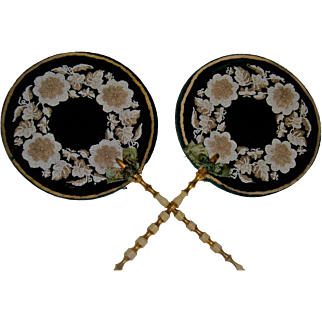 Pair Antique  bead work face screens