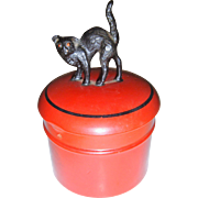 Delightful celluloid pot with black cat