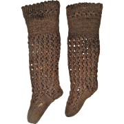 Pair antique lacy small brown socks