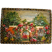 Miniature hand painted picture on wood of garden