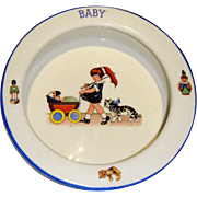 Cute baby plate with pram and cat