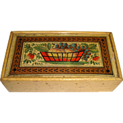 Tunbridge  ware box with painted fruit and inlay