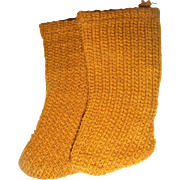 Pair old tan factory socks for doll