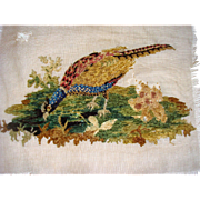Early chenille embroidery of pheasant
