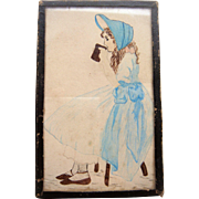 Miniature water color of girl c 1850