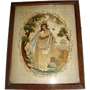 Early silk work embroidered picture 1800