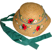 Italian child's straw hat embroidered poppies