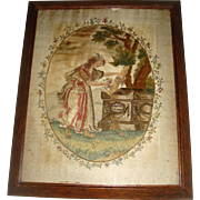Early silk work embroidered picture
