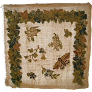 Early piece of needle work for dolls house carpet