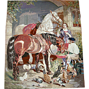 Large needle point picture with horses and provenience