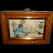 Miniature water color of girl feeding bird in walnut frame
