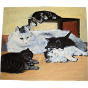 Charming oil on board cat and kittens