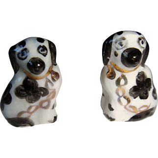 Pair of miniature hand painted dogs