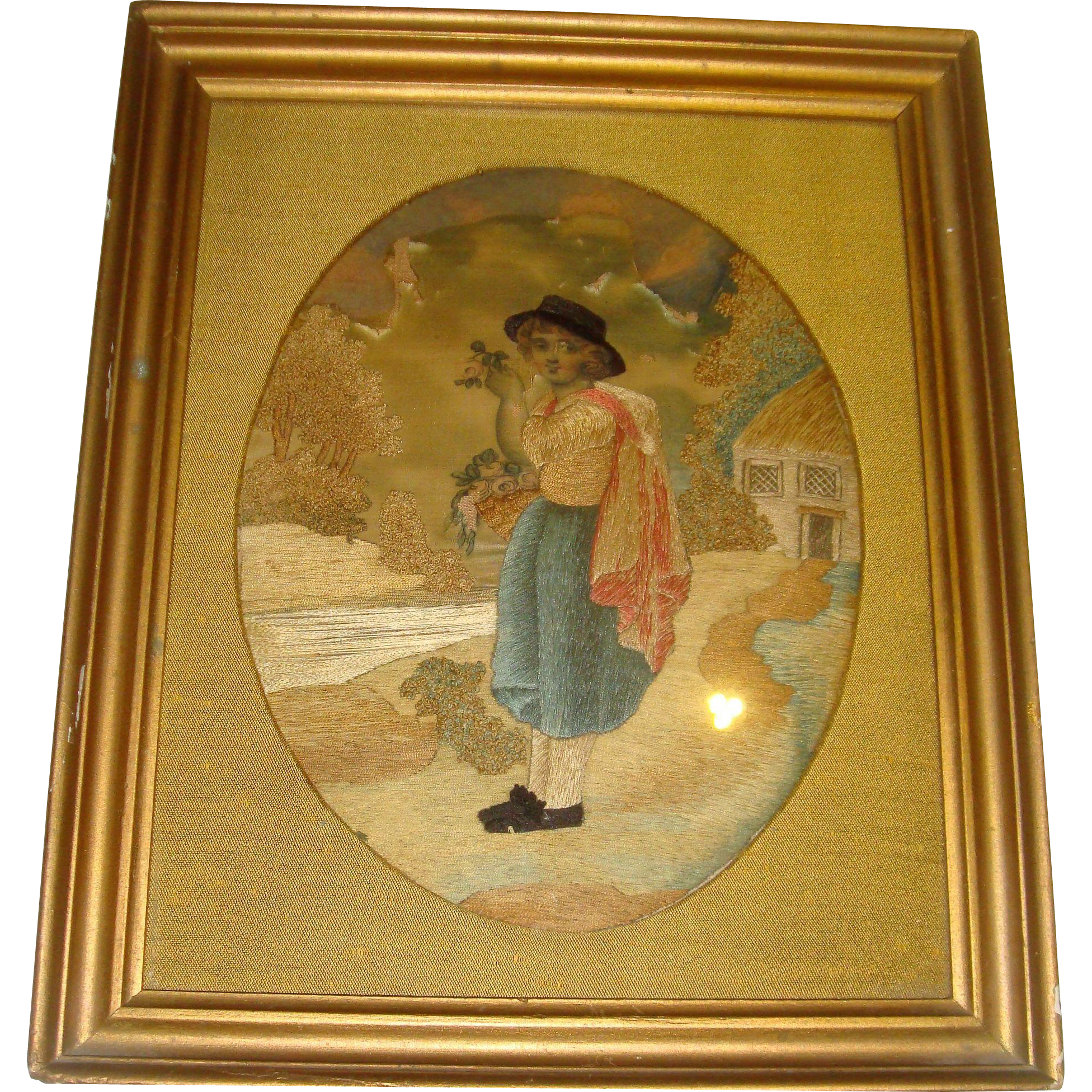 Early silk work picture flower seller