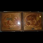 Pair miniature silk printed pictures