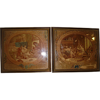 Pair miniature silk printed pictures