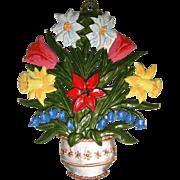 Pretty Wilhelm Schweizer pewter hanging vase of flowers