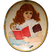 Miniature watercolor of child holding doll