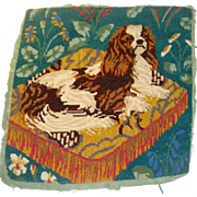 Cute needle work King Charles Spaniel on cushion