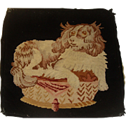 King Charles Spaniel on cushion needle work