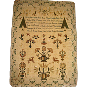 Sampler by Jane Edwards 1832 animals and verse