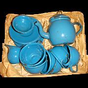 Enamel  1900 tea set in original pine box