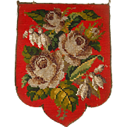 Small antique Berlin bead work banner flowers