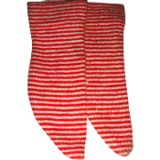 Pair red stripey old doll socks