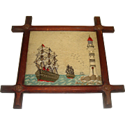 Superb Antique needlework sailing ships and light house