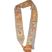 Early embroidered bell pull with  animals and flowers
