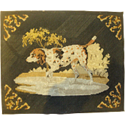 Needlepoint picture of pointer dog
