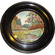 Circular silk embroidered picture of garden