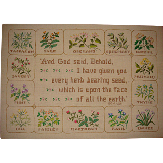 Unusual sampler with flowers and verse