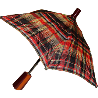 Miniature tartan umbrella for doll