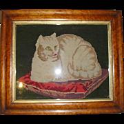 Antique framed needlpoint cat on cushion