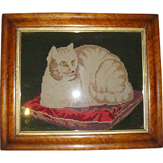 Antique framed needlpoint cat on cushion