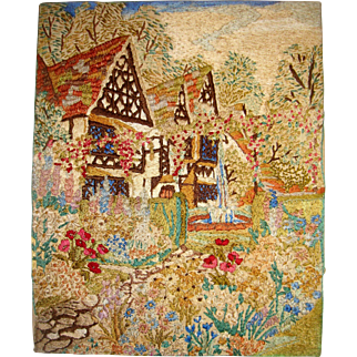 Silk embroidered picture of English country garden