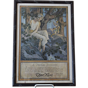 Framed French Djer-Kiss Ad by Maxfield Parrish