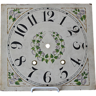 Vintage Hand Painted Wood Clock Face