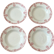 Set 4 French St. Amand Red & White Bowls
