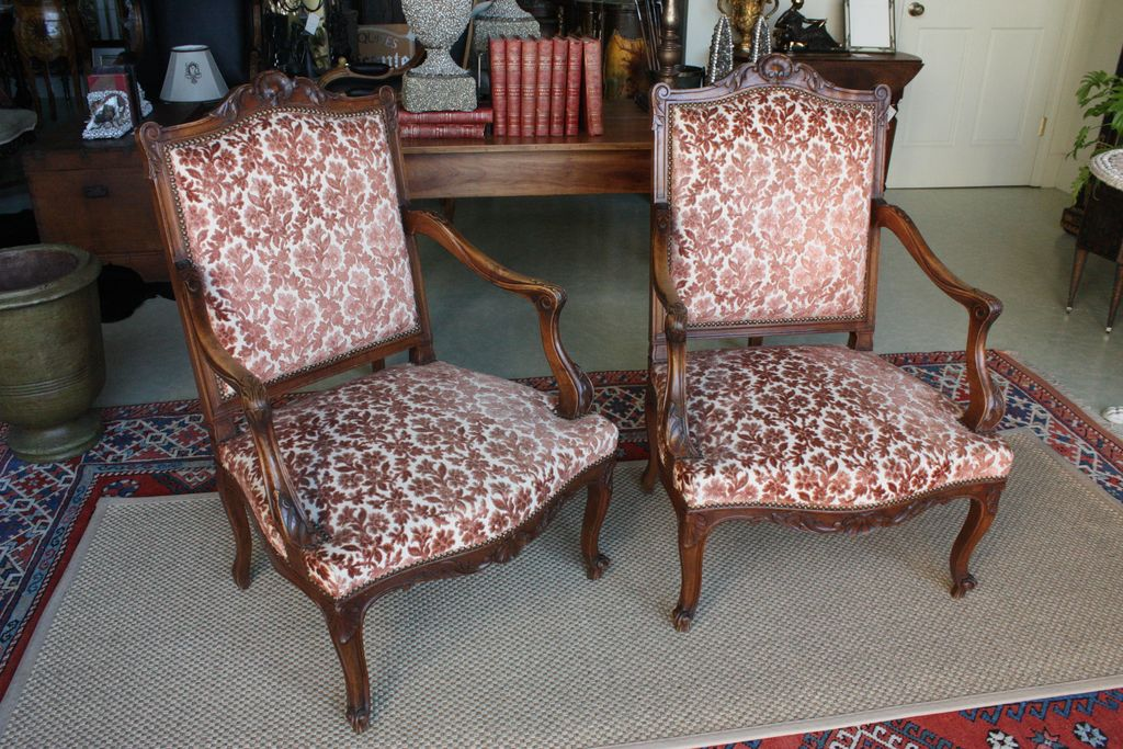 Vintage Pair of Louis XV Style French Walnut Chairs