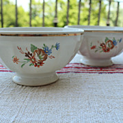 Early Pair French Floral Cafe Au Lait Bowls