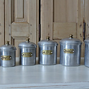 Set 6 Vintage Aluminum & Brass French Canisters 1920s/30s