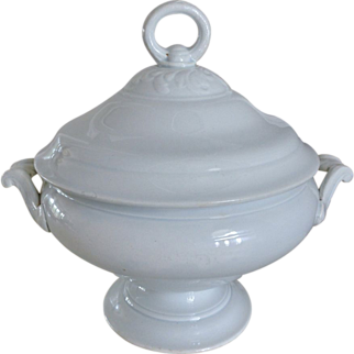 Old French Faience Covered Tureen 2 pc