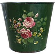 Vintage 1920s French Handpainted Tole Cachepot Wastebasket