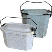 Two Vintage French Enamel Lunch Pails