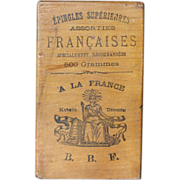 Small French Wood Advertising Box - Great Typography