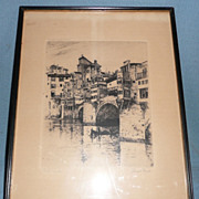'The Ponte Vecchio, 1883' - Engraving by Joseph Pennell