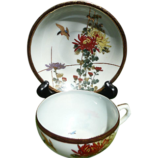 Fukagawa Seiji Porcelain Demitasse Cup & Saucer, ca. 1900-1930