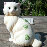 Curio Cabinet Cat - Belleek Style Porcelain - Franklin Mint - ca. 1986-88